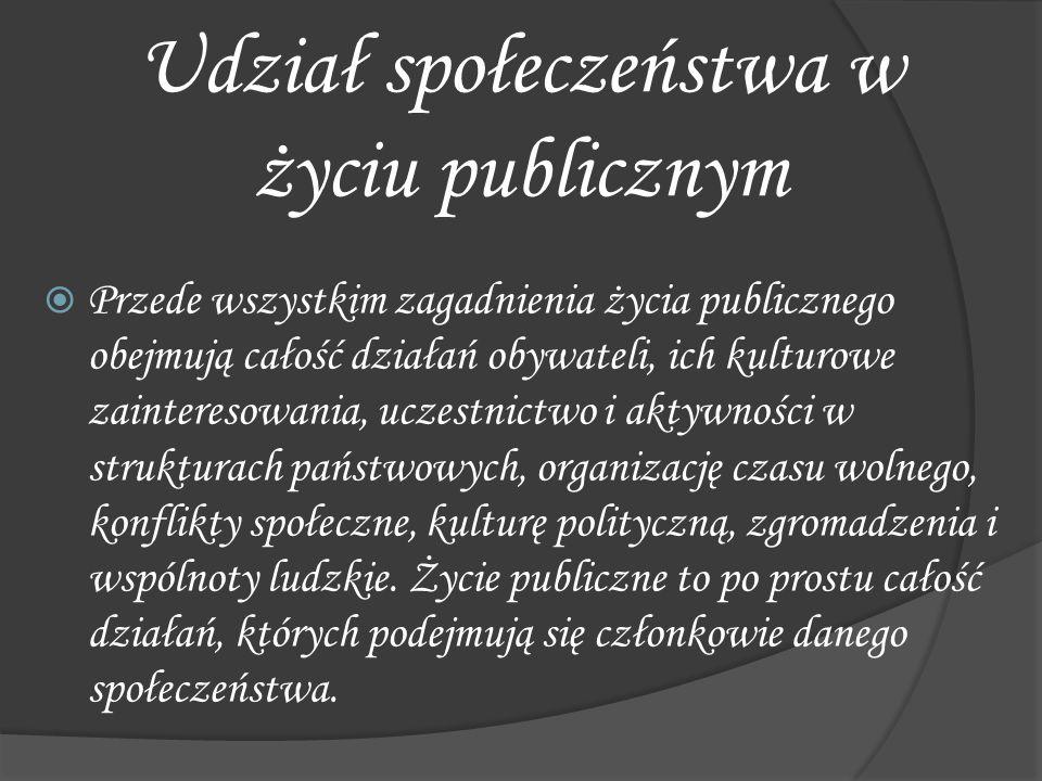  Przede wszystkim zagadnienia życia publicznego obejmują całość działań obywateli, ich kulturowe zainteresowania, uczestnictwo i aktywności w struktu