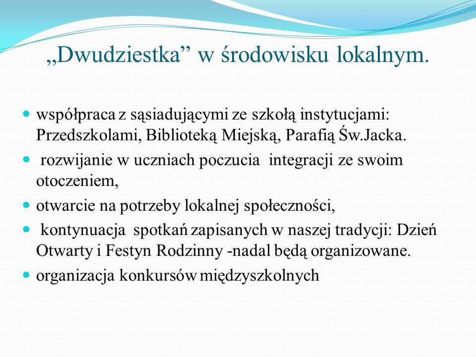 """""""Dwudziestka"""" w środowisku lokalnym. współpraca z sąsiadującymi ze szkołą instytucjami: Przedszkolami, Biblioteką Miejską, Parafią Św.Jacka. rozwijani"""