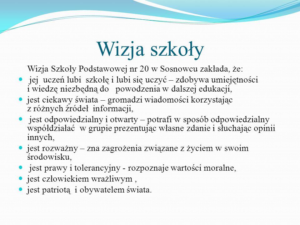 Wizja szkoły Wizja Szkoły Podstawowej nr 20 w Sosnowcu zakłada, że: jej uczeń lubi szkołę i lubi się uczyć – zdobywa umiejętności i wiedzę niezbędną d