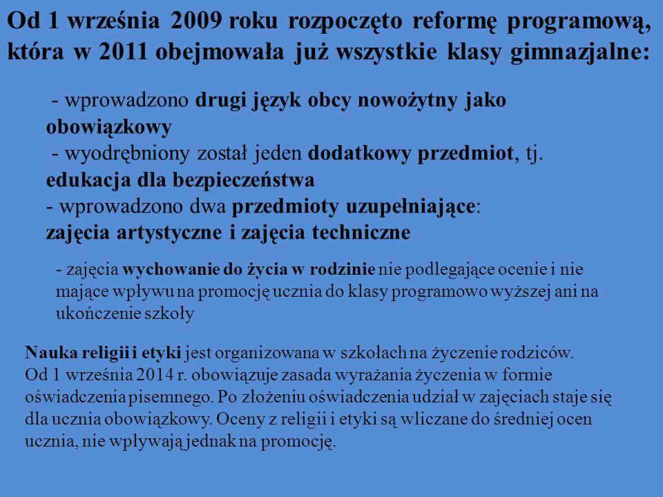 Od 1 września 2009 roku rozpoczęto reformę programową, która w 2011 obejmowała już wszystkie klasy gimnazjalne: - wprowadzono drugi język obcy nowożytny jako obowiązkowy - wyodrębniony został jeden dodatkowy przedmiot, tj.