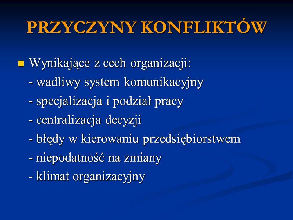 PRZYCZYNY KONFLIKTÓW Wynikające z cech organizacji: Wynikające z cech organizacji: - wadliwy system komunikacyjny - specjalizacja i podział pracy - centralizacja decyzji - błędy w kierowaniu przedsiębiorstwem - niepodatność na zmiany - klimat organizacyjny