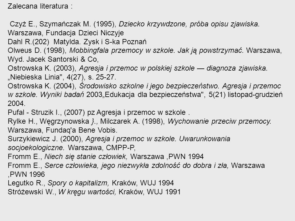 Zalecana literatura : Czyż E., Szymańczak M. (1995), Dziecko krzywdzone, próba opisu zjawiska. Warszawa, Fundacja Dzieci Niczyje Dahl R.(202) Matylda