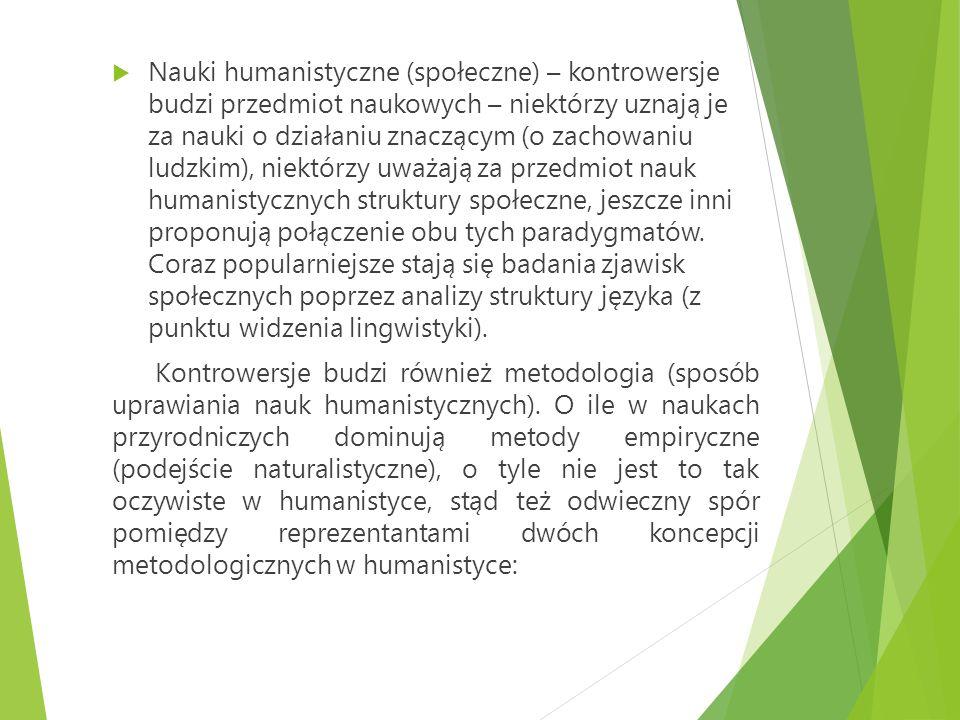  Nauki humanistyczne (społeczne) – kontrowersje budzi przedmiot naukowych – niektórzy uznają je za nauki o działaniu znaczącym (o zachowaniu ludzkim)