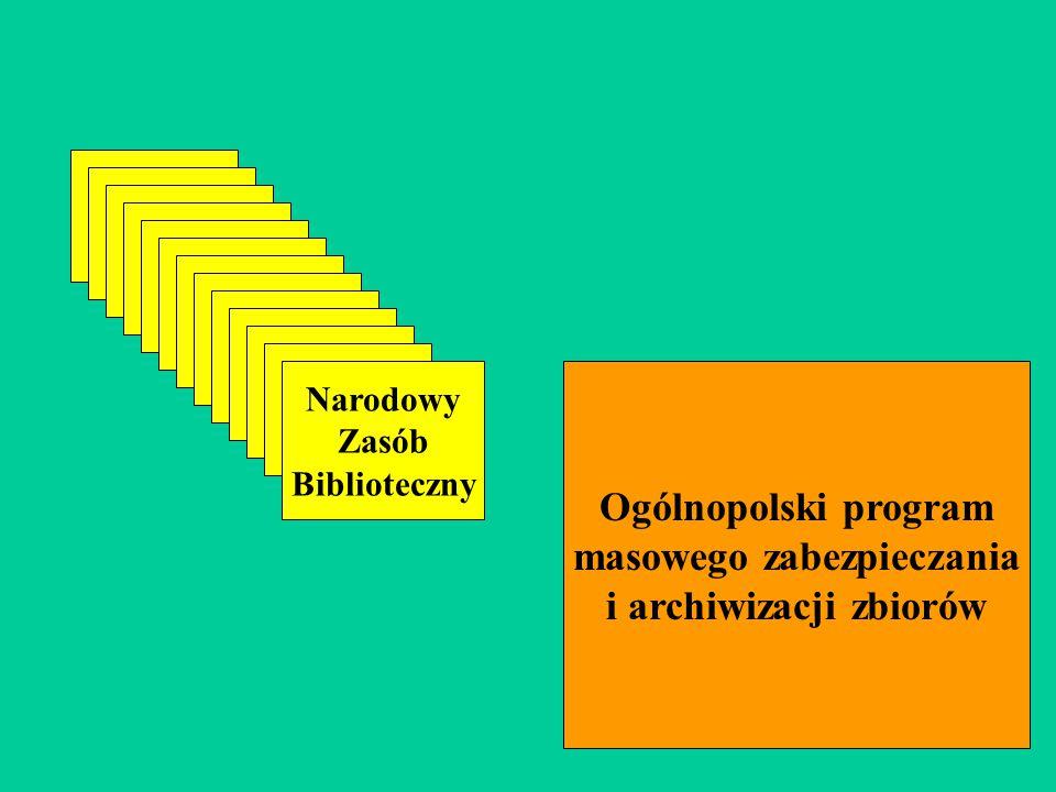 Narodowy Zasób Biblioteczny Ogólnopolski program masowego zabezpieczania i archiwizacji zbiorów