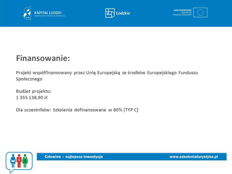Finansowanie: Projekt współfinansowany przez Unię Europejską ze środków Europejskiego Funduszu Społecznego Budżet projektu: 1 355 138,90 zł Dla uczestników: Szkolenia dofinansowane w 80% (TYP C)