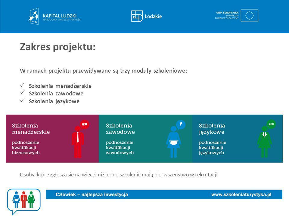 Zakres projektu: W ramach projektu przewidywane są trzy moduły szkoleniowe: Szkolenia menadżerskie Szkolenia zawodowe Szkolenia językowe.