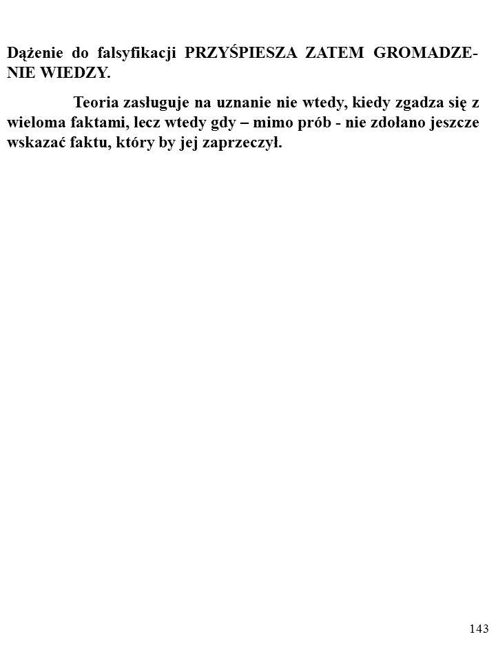 142 Popper nie chce więc szukać potwierdzeń teorii; nie rozstrzygają one o prawdziwości sprawdzanej wiedzy.