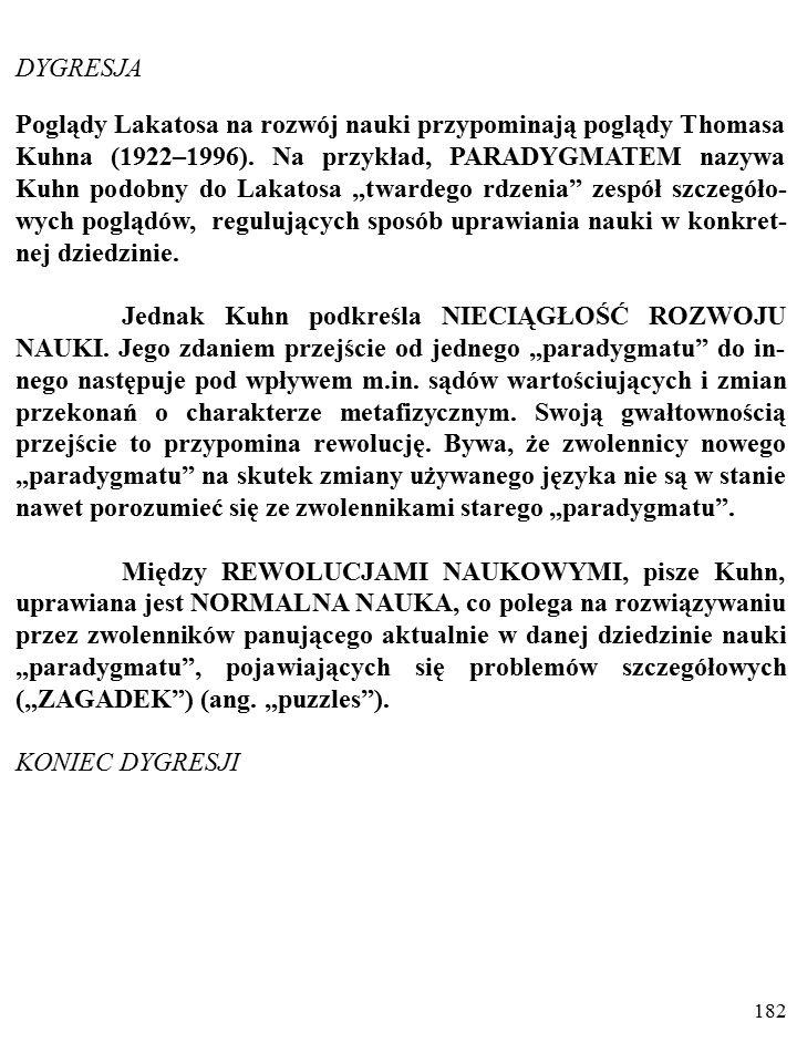 181 Poglądy Poppera rozwijał m. in. jego uczeń Imre Lakatos (1922–1974).