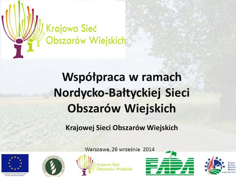 Warszawa, 26 września 2014 Współpraca w ramach Nordycko-Bałtyckiej Sieci Obszarów Wiejskich Krajowej Sieci Obszarów Wiejskich