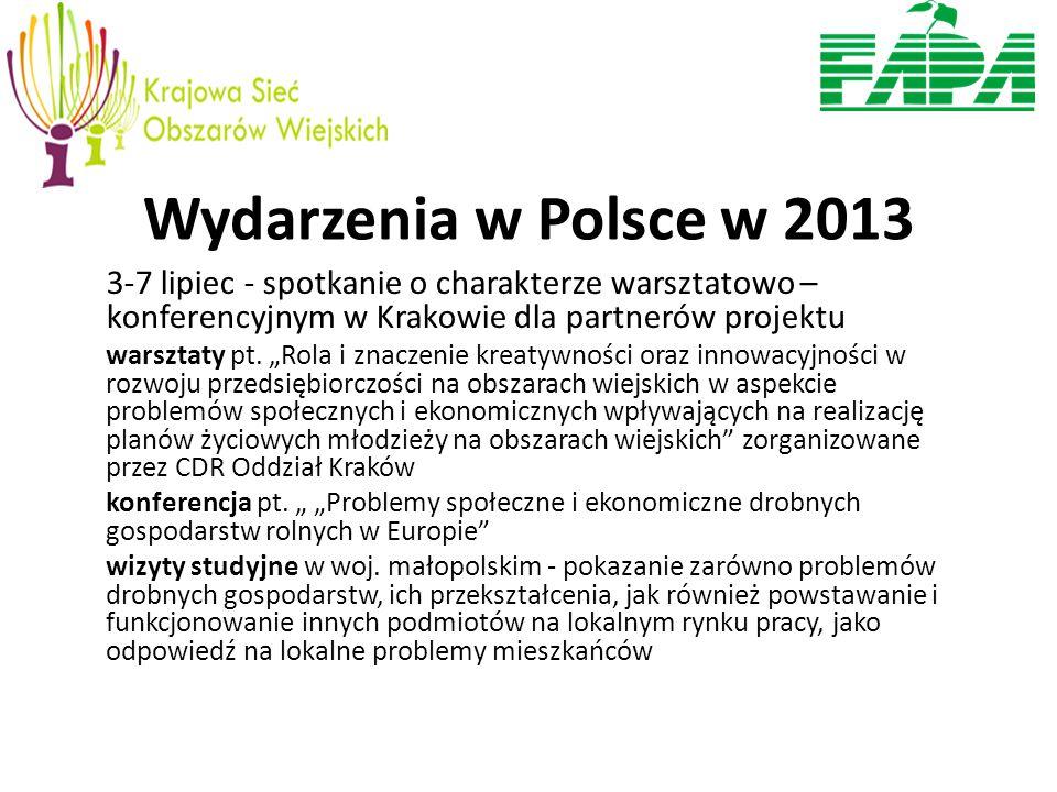 Wydarzenia w Polsce w 2013 3-7 lipiec - spotkanie o charakterze warsztatowo – konferencyjnym w Krakowie dla partnerów projektu warsztaty pt.