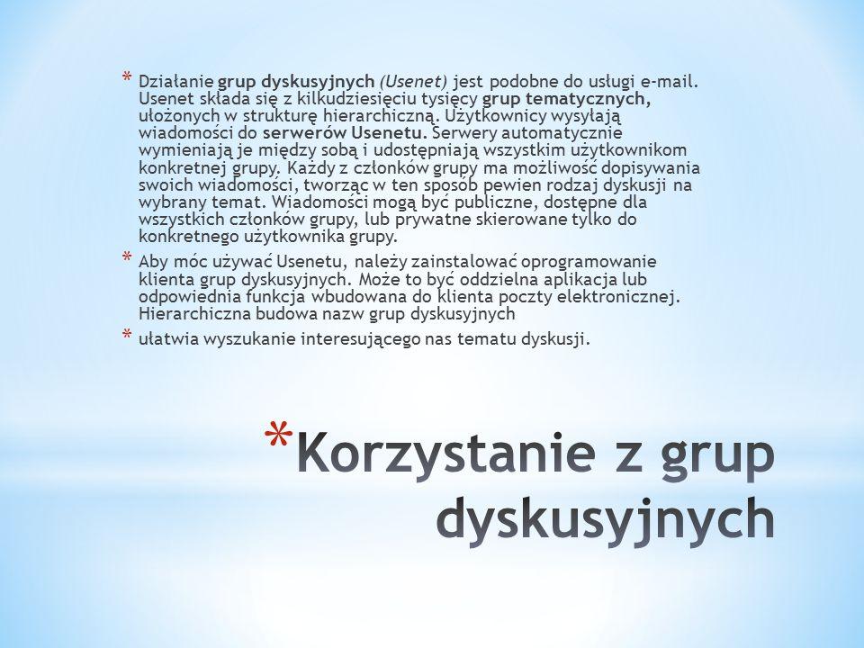 * Działanie grup dyskusyjnych (Usenet) jest podobne do usługi e-mail. Usenet składa się z kilkudziesięciu tysięcy grup tematycznych, ułożonych w struk