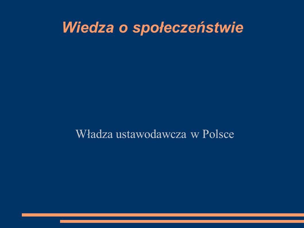 Wiedza o społeczeństwie Władza ustawodawcza w Polsce