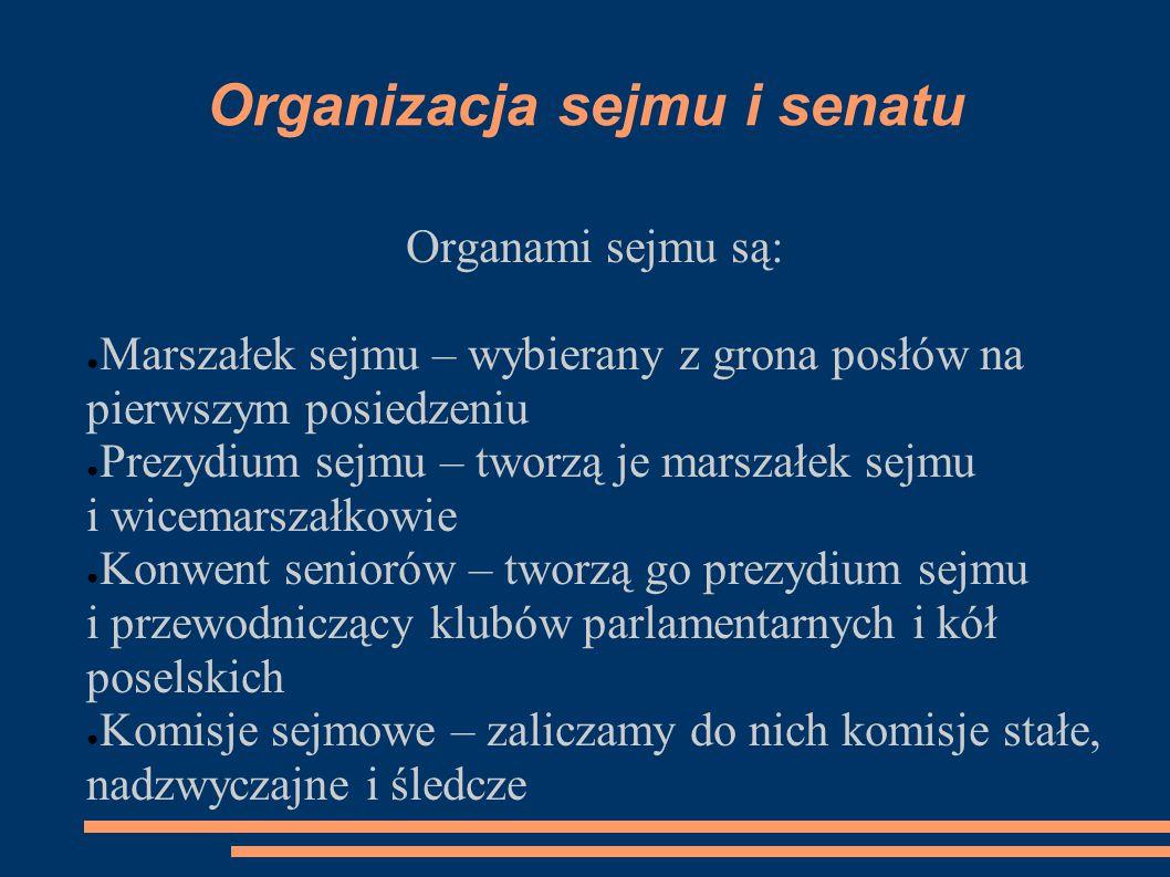 Organizacja sejmu i senatu Organami sejmu są: ● Marszałek sejmu – wybierany z grona posłów na pierwszym posiedzeniu ● Prezydium sejmu – tworzą je mars