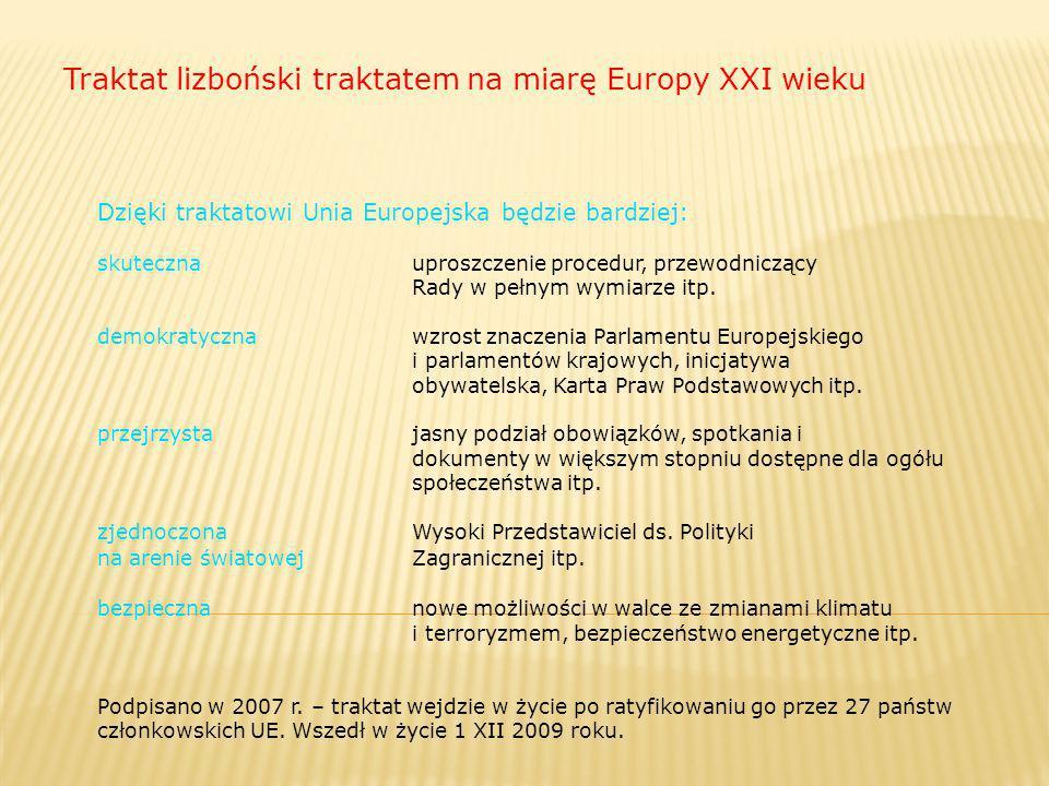 Traktat lizboński traktatem na miarę Europy XXI wieku Dzięki traktatowi Unia Europejska będzie bardziej: skuteczna uproszczenie procedur, przewodniczą