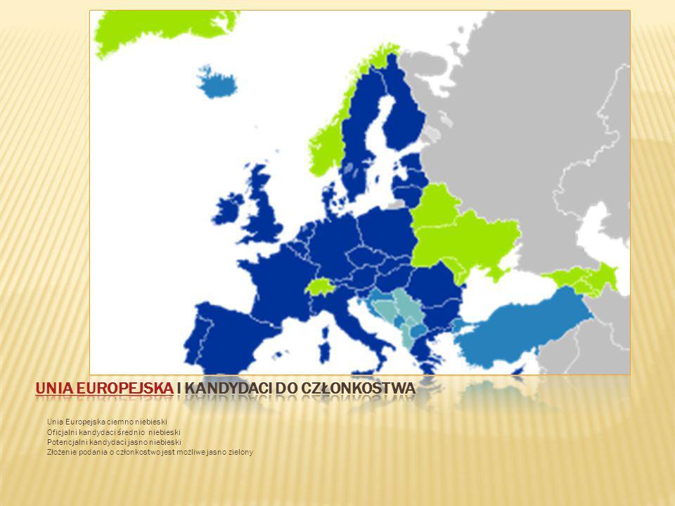 Unia Europejska ciemno niebieski Oficjalni kandydaci średnio niebieski Potencjalni kandydaci jasno niebieski Złożenie podania o członkostwo jest możli