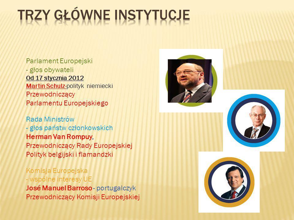 Parlament Europejski - głos obywateli Od 17 stycznia 2012 Martin Schulz-polityk niemiecki Przewodniczący Parlamentu Europejskiego Rada Ministrów - gło