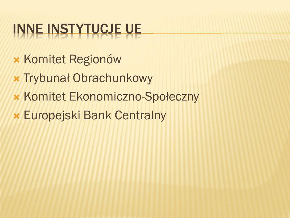  Komitet Regionów  Trybunał Obrachunkowy  Komitet Ekonomiczno-Społeczny  Europejski Bank Centralny