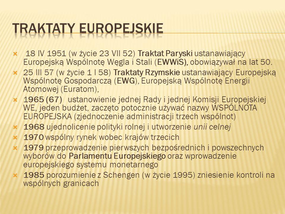  18 IV 1951 (w życie 23 VII 52) Traktat Paryski ustanawiający Europejską Wspólnotę Węgla i Stali (EWWiS), obowiązywał na lat 50.  25 III 57 (w życie