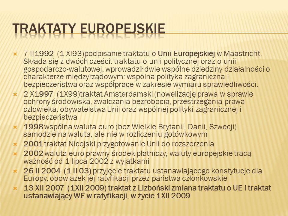  7 II1992 (1 XI93)podpisanie traktatu o Unii Europejskiej w Maastricht. Składa się z dwóch części: traktatu o unii politycznej oraz o unii gospodarcz