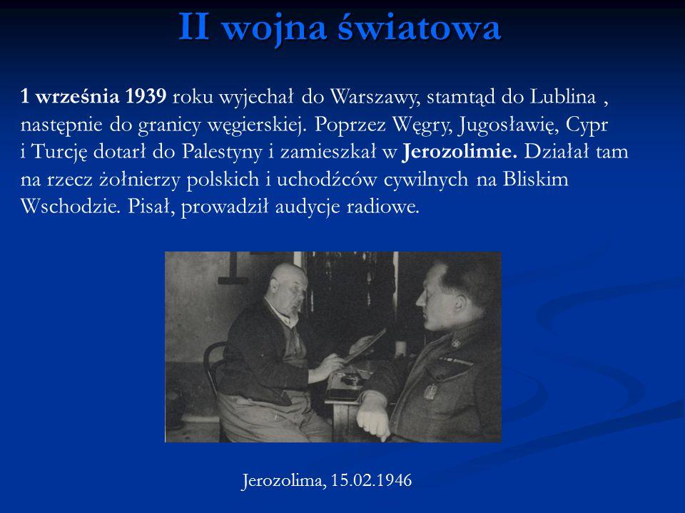 1 września 1939 roku wyjechał do Warszawy, stamtąd do Lublina, następnie do granicy węgierskiej. Poprzez Węgry, Jugosławię, Cypr i Turcję dotarł do Pa