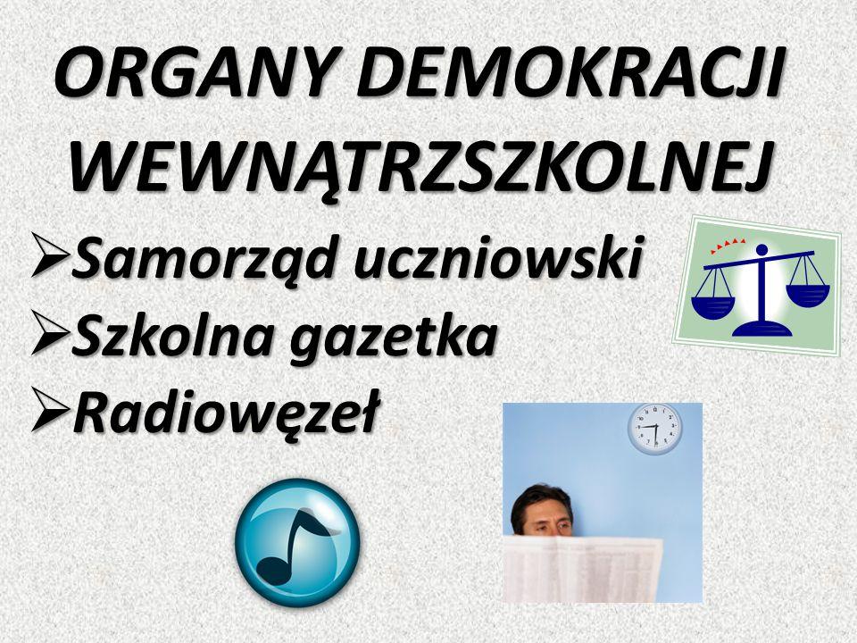 ORGANY DEMOKRACJI WEWNĄTRZSZKOLNEJ  Samorząd uczniowski  Szkolna gazetka  Radiowęzeł