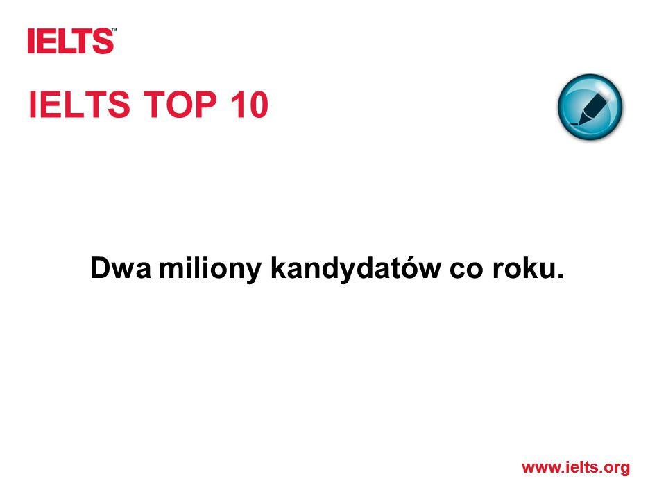 www.ielts.org IELTS TOP 10 Dwa miliony kandydatów co roku.
