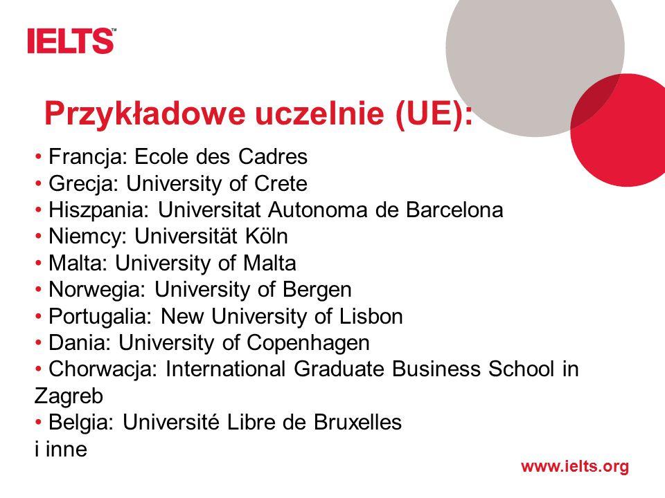 www.ielts.org Przykładowe uczelnie (UE): Francja: Ecole des Cadres Grecja: University of Crete Hiszpania: Universitat Autonoma de Barcelona Niemcy: Un