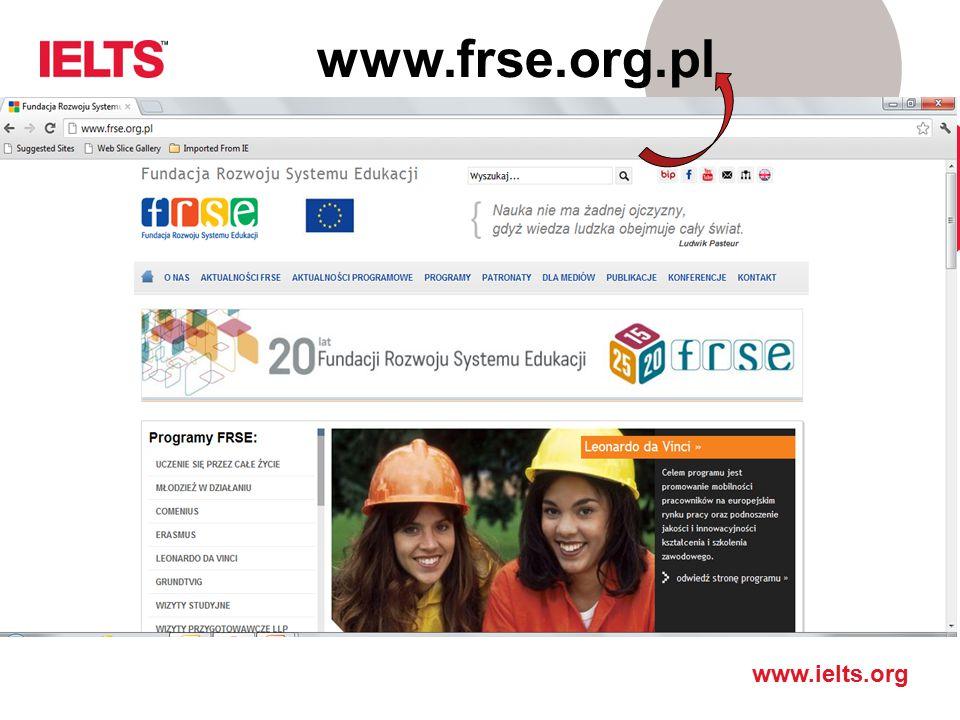 www.ielts.org IELTS a uczelnie amerykańskie
