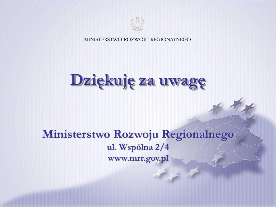 19 Ministerstwo Rozwoju Regionalnego ul. Wspólna 2/4 www.mrr.gov.pl Dziękuję za uwagę