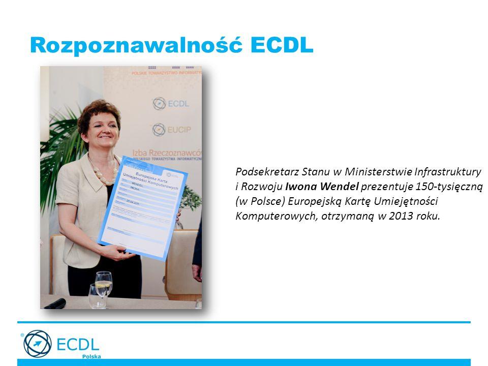 Rozpoznawalność ECDL Podsekretarz Stanu w Ministerstwie Infrastruktury i Rozwoju Iwona Wendel prezentuje 150-tysięczną (w Polsce) Europejską Kartę Umiejętności Komputerowych, otrzymaną w 2013 roku.