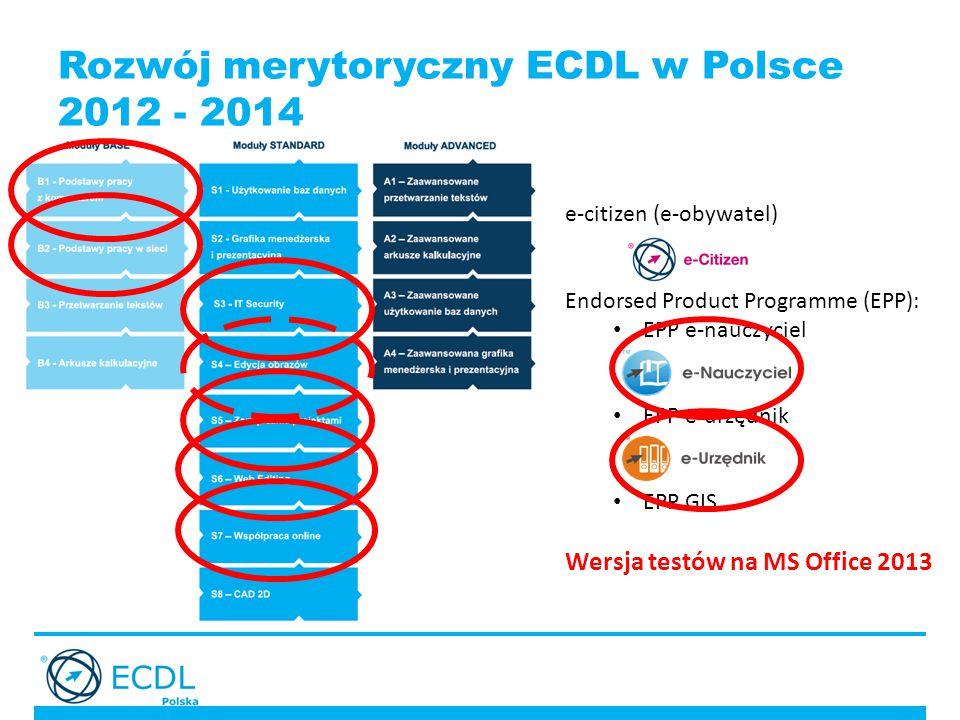 Rozwój merytoryczny ECDL w Polsce 2012 - 2014 e-citizen (e-obywatel) Endorsed Product Programme (EPP): EPP e-nauczyciel EPP e-urzędnik EPP GIS Wersja testów na MS Office 2013