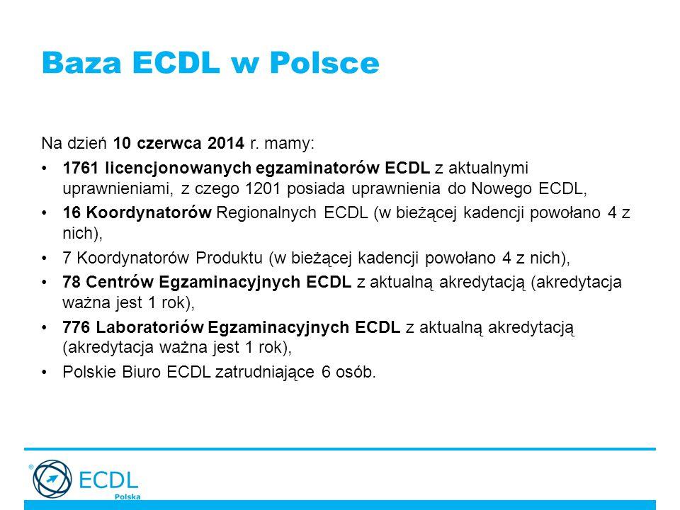 Baza ECDL w Polsce Na dzień 10 czerwca 2014 r.