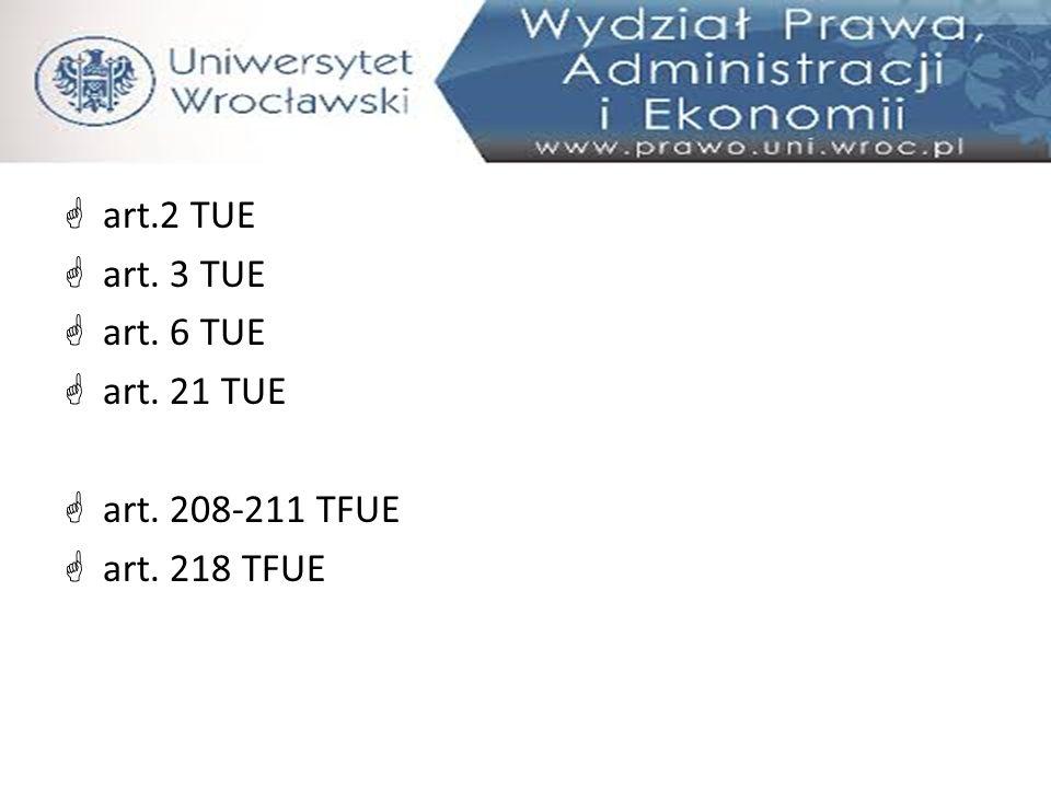  art.2 TUE  art. 3 TUE  art. 6 TUE  art. 21 TUE  art. 208-211 TFUE  art. 218 TFUE
