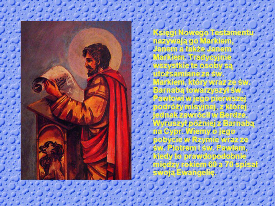 W ikonografii atrybutami świętego są: księga, lew ze skrzydłami u stop, drzewo figowe i zwój.