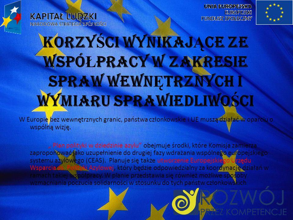 KORZY Ś CI WYNIKAJ Ą CE ZE WSPÓ Ł PRACY W ZAKRESIE SPRAW WEWN Ę TRZNYCH I WYMIARU SPRAWIEDLIWO Ś CI W Europie bez wewnętrznych granic, państwa członkowskie i UE muszą działać w oparciu o wspólną wizję.