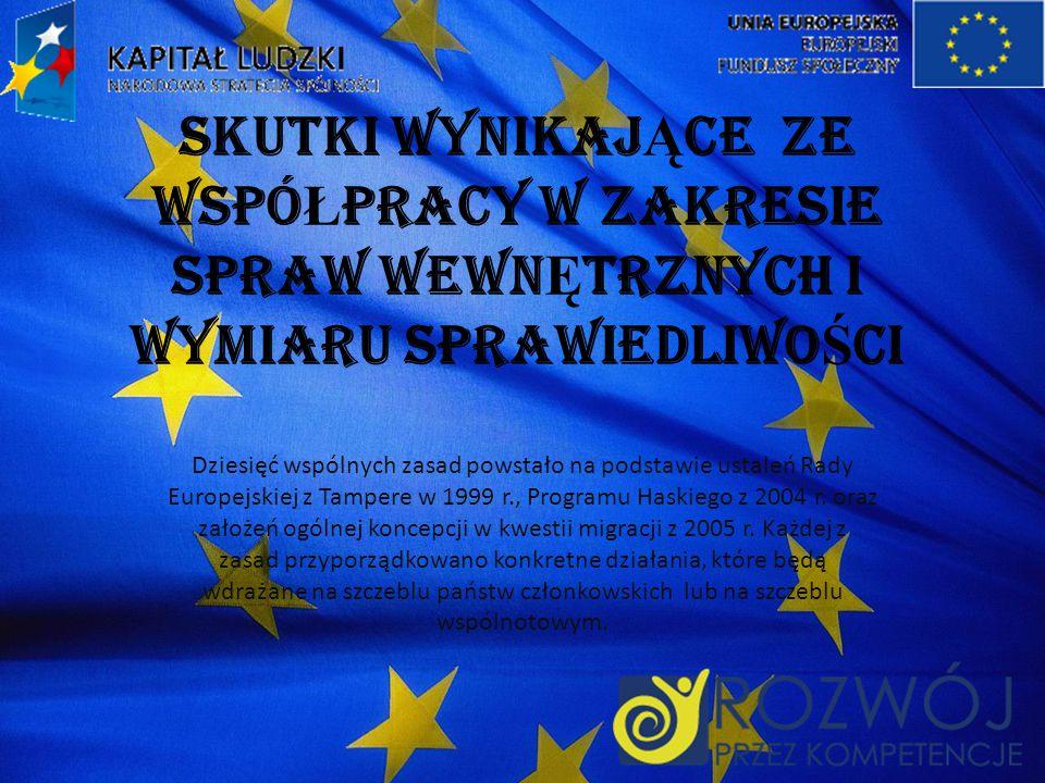 SKUTKI WYNIKAJ Ą CE ZE WSPÓ Ł PRACY W ZAKRESIE SPRAW WEWN Ę TRZNYCH I WYMIARU SPRAWIEDLIWO Ś CI Dziesięć wspólnych zasad powstało na podstawie ustaleń Rady Europejskiej z Tampere w 1999 r., Programu Haskiego z 2004 r.