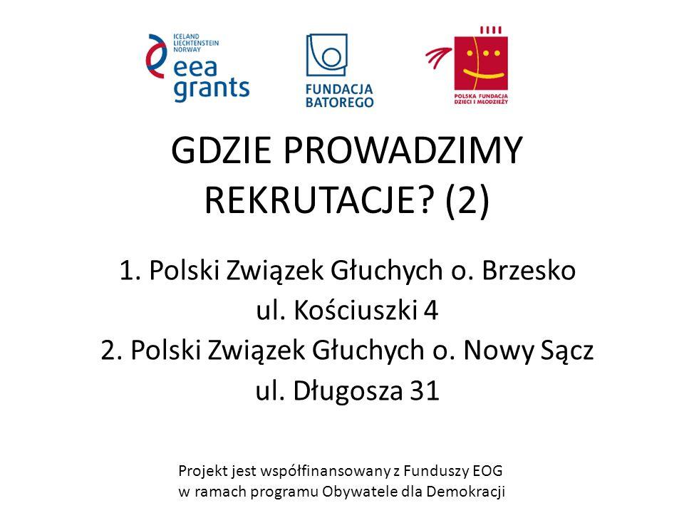 Projekt jest współfinansowany z Funduszy EOG w ramach programu Obywatele dla Demokracji GDZIE PROWADZIMY REKRUTACJE.