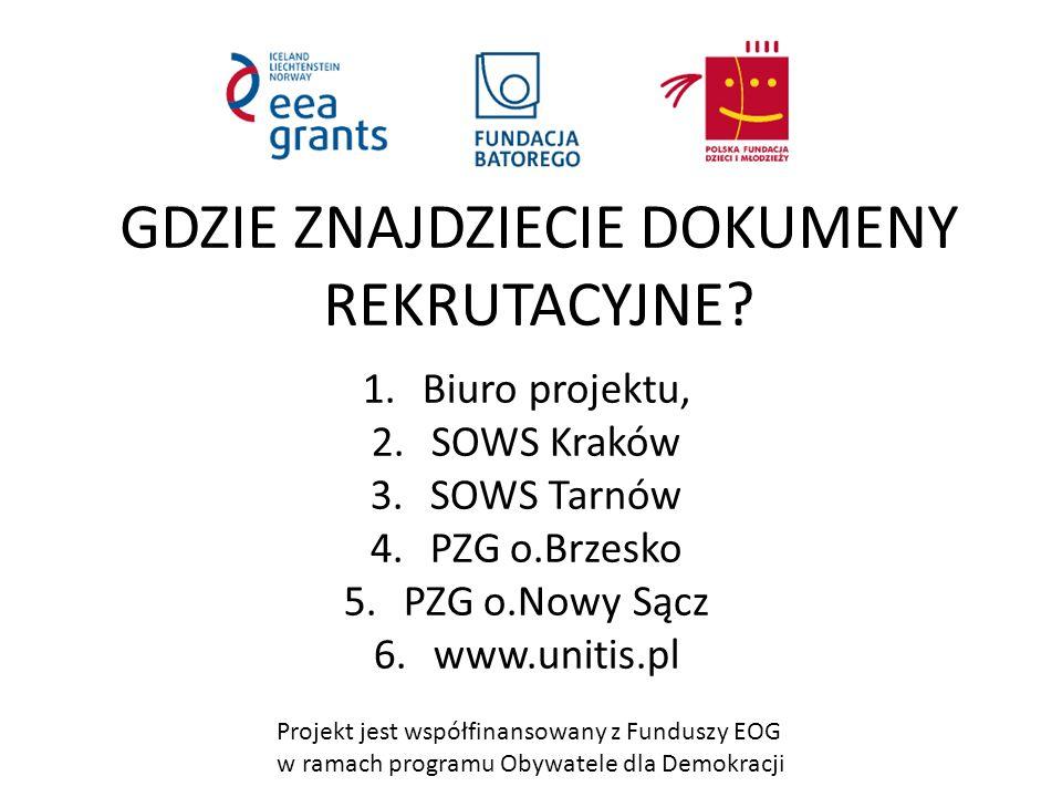 Projekt jest współfinansowany z Funduszy EOG w ramach programu Obywatele dla Demokracji ZAPRASZAMY Biuro projektu: 33-300 Nowy Sącz ul.