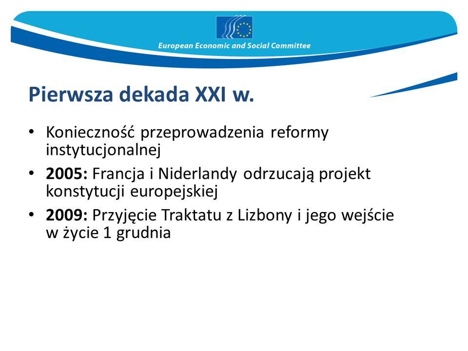 Pierwsza dekada XXI w. Konieczność przeprowadzenia reformy instytucjonalnej 2005: Francja i Niderlandy odrzucają projekt konstytucji europejskiej 2009