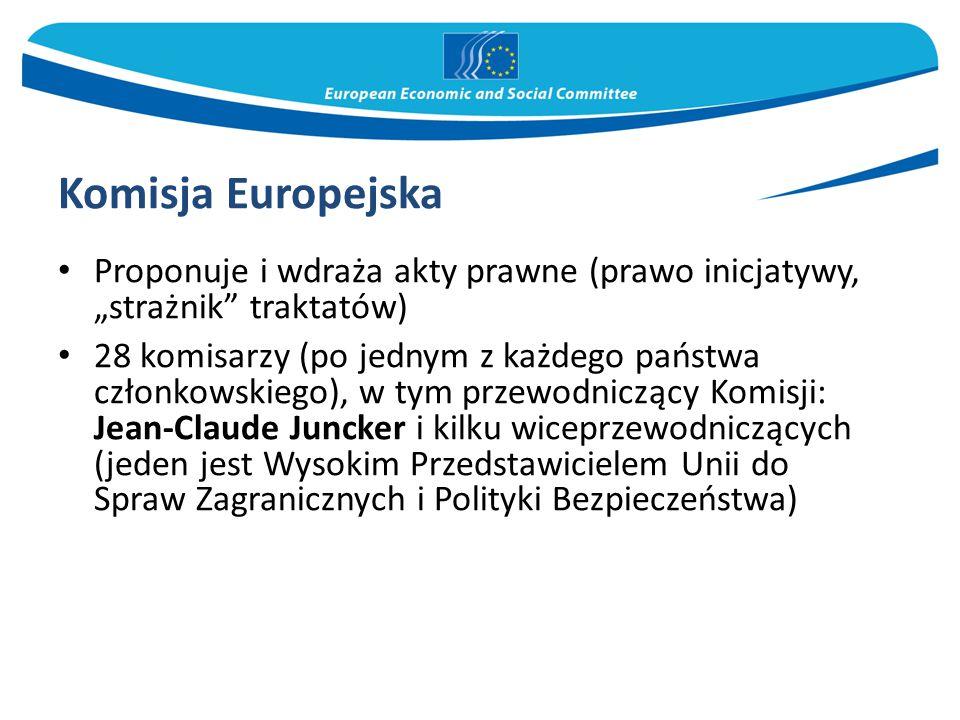 """Komisja Europejska Proponuje i wdraża akty prawne (prawo inicjatywy, """"strażnik traktatów) 28 komisarzy (po jednym z każdego państwa członkowskiego), w tym przewodniczący Komisji: Jean-Claude Juncker i kilku wiceprzewodniczących (jeden jest Wysokim Przedstawicielem Unii do Spraw Zagranicznych i Polityki Bezpieczeństwa)"""