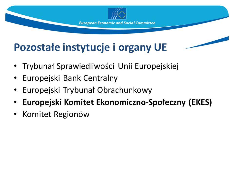 Pozostałe instytucje i organy UE Trybunał Sprawiedliwości Unii Europejskiej Europejski Bank Centralny Europejski Trybunał Obrachunkowy Europejski Komitet Ekonomiczno-Społeczny (EKES) Komitet Regionów