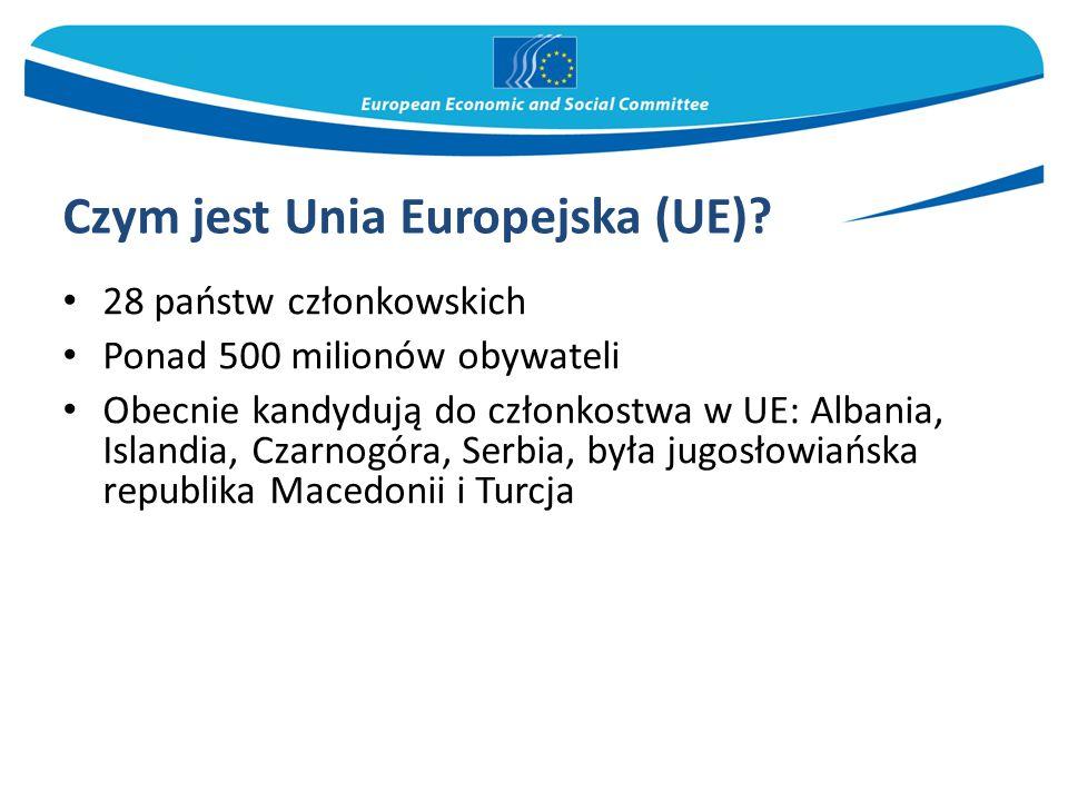 Czym jest Unia Europejska (UE)? 28 państw członkowskich Ponad 500 milionów obywateli Obecnie kandydują do członkostwa w UE: Albania, Islandia, Czarnog