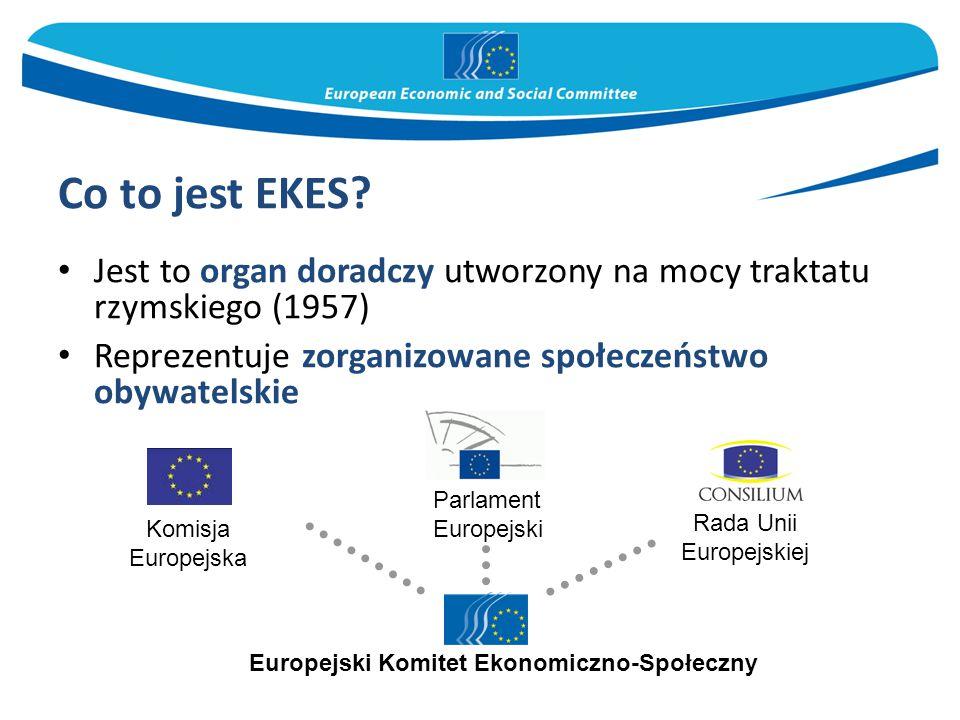 Co to jest EKES? Jest to organ doradczy utworzony na mocy traktatu rzymskiego (1957) Reprezentuje zorganizowane społeczeństwo obywatelskie Parlament E