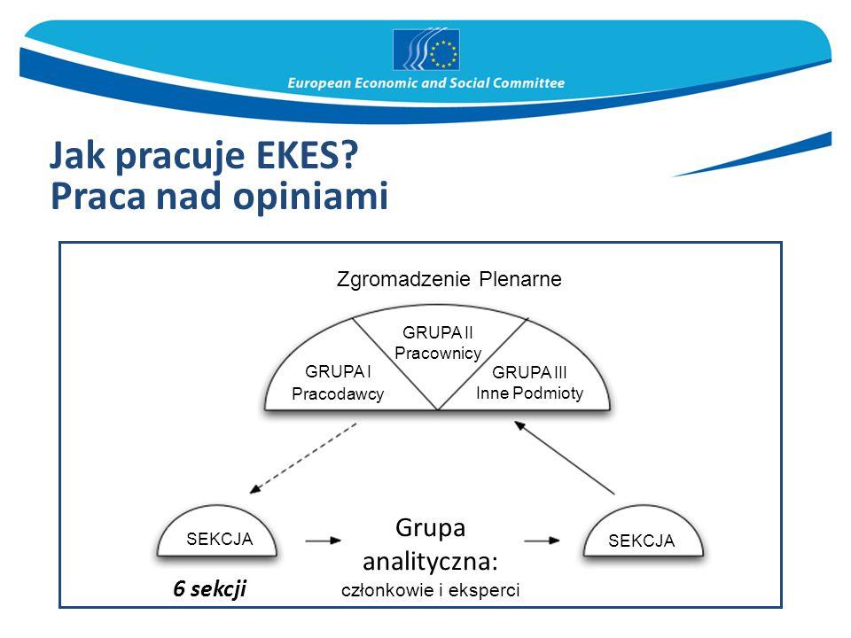 Jak pracuje EKES? Praca nad opiniami 6 sekcji Zgromadzenie Plenarne GRUPA II Pracownicy GRUPA I Pracodawcy GRUPA III Inne Podmioty SEKCJA Grupa analit