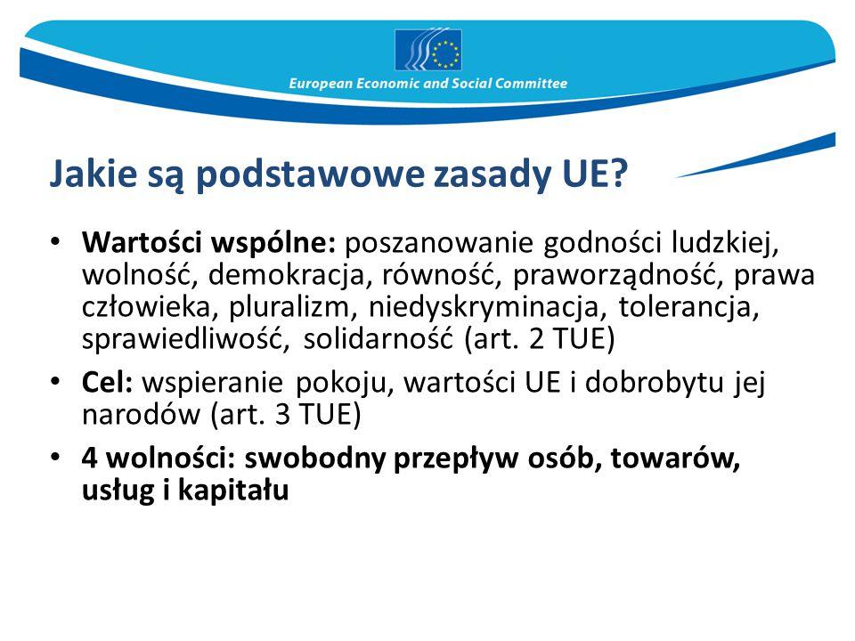 Jakie są podstawowe zasady UE? Wartości wspólne: poszanowanie godności ludzkiej, wolność, demokracja, równość, praworządność, prawa człowieka, plurali
