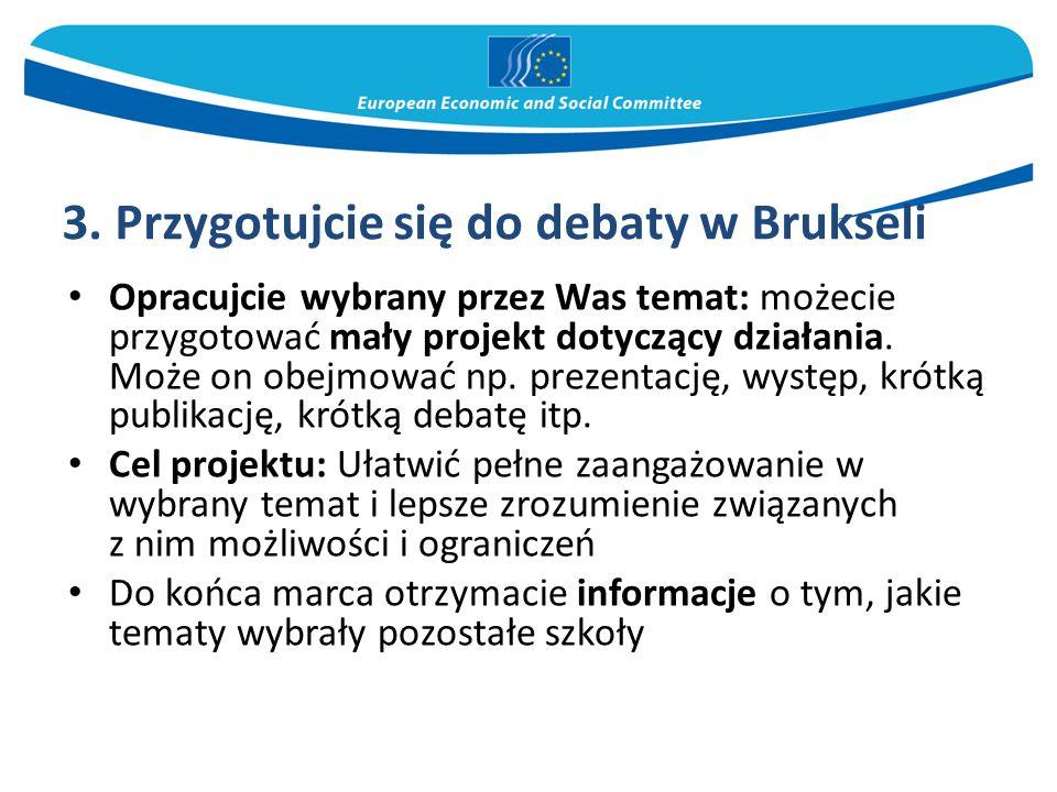 3. Przygotujcie się do debaty w Brukseli Opracujcie wybrany przez Was temat: możecie przygotować mały projekt dotyczący działania. Może on obejmować n