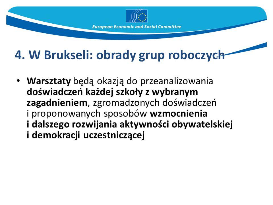 4. W Brukseli: obrady grup roboczych Warsztaty będą okazją do przeanalizowania doświadczeń każdej szkoły z wybranym zagadnieniem, zgromadzonych doświa