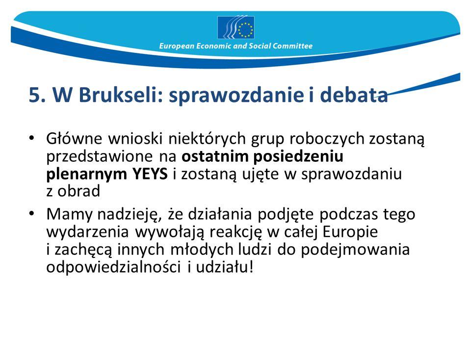 5. W Brukseli: sprawozdanie i debata Główne wnioski niektórych grup roboczych zostaną przedstawione na ostatnim posiedzeniu plenarnym YEYS i zostaną u