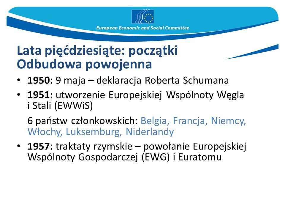 Lata pięćdziesiąte: początki Odbudowa powojenna 1950: 9 maja – deklaracja Roberta Schumana 1951: utworzenie Europejskiej Wspólnoty Węgla i Stali (EWWiS) 6 państw członkowskich: Belgia, Francja, Niemcy, Włochy, Luksemburg, Niderlandy 1957: traktaty rzymskie – powołanie Europejskiej Wspólnoty Gospodarczej (EWG) i Euratomu