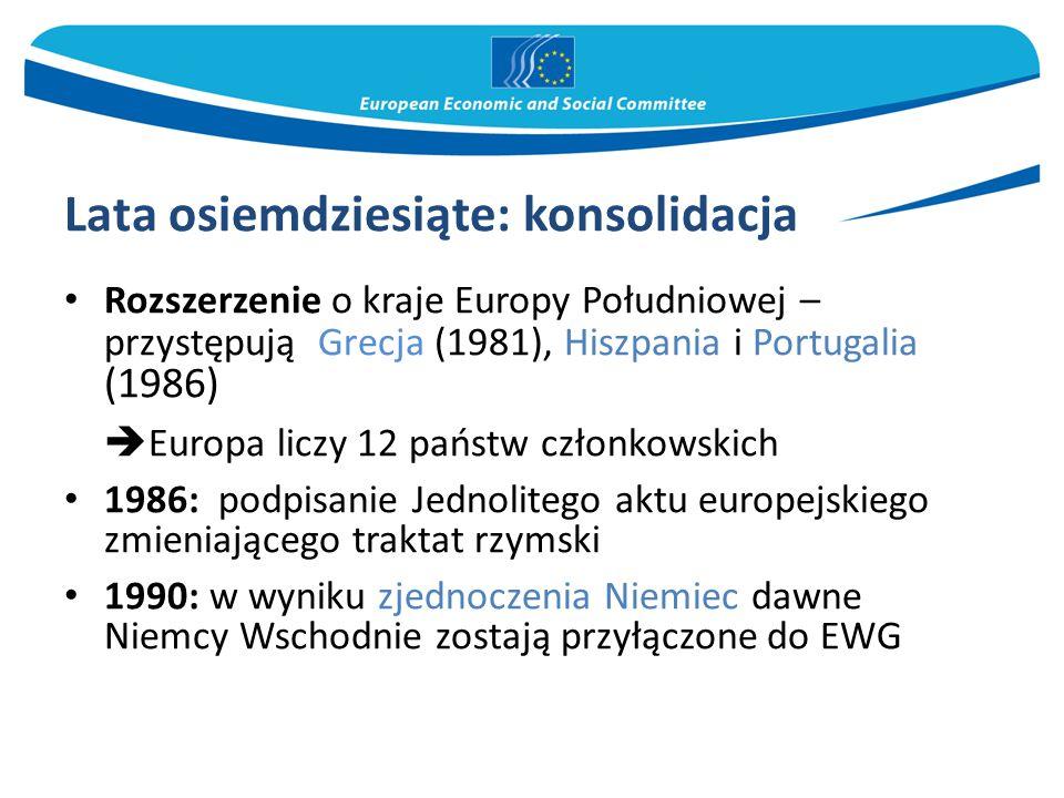 Lata osiemdziesiąte: konsolidacja Rozszerzenie o kraje Europy Południowej – przystępują Grecja (1981), Hiszpania i Portugalia (1986)  Europa liczy 12 państw członkowskich 1986: podpisanie Jednolitego aktu europejskiego zmieniającego traktat rzymski 1990: w wyniku zjednoczenia Niemiec dawne Niemcy Wschodnie zostają przyłączone do EWG